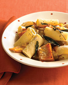 """Rigatoni With Roasted Pumpkin and Goat Cheese."""